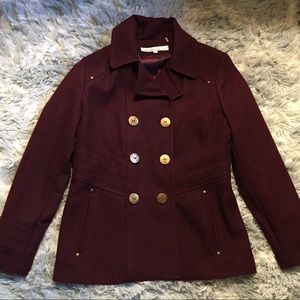 Kenneth Cole Women's Maroon Wool Peacoat -12P-EUC